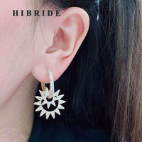 HIBRIDE New Arrival Hoop Earrings For Women Shinny Star Cubic Zirconia Earring Party Gift Brincos boucle d'oreille E-655