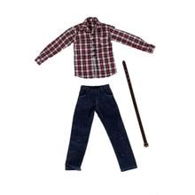 1/6 סולם זכר בגדי עבור 12 אינץ פעולה איור אדום משובץ ארוך שרוול חולצת ג ינס חליפת בובות כבדרך אגב מגניב תלבושות בגדי סט