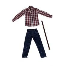 1/6 Scale Мужская одежда для 12 дюймовых фигурок, красная клетчатая рубашка с длинным рукавом, джинсовый костюм, куклы, Повседневная крутая одежда, комплект одежды