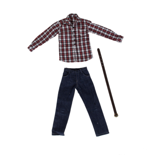 1/6 Scale ชายเสื้อผ้าสำหรับรูปแอ็คชันขนาด 12 นิ้วสีแดงแขนยาวลายสก๊อตเสื้อกางเกงยีนส์ชุดตุ๊กตาสบายๆชุดเย็นชุดเสื้อผ้า