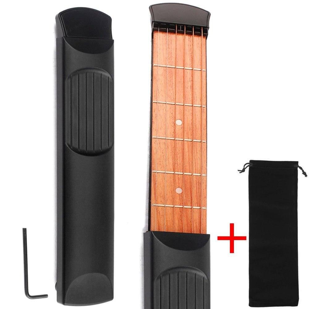 Poche Acoustique Guitare Pratique Outil 6 Chaîne Touche 6 Frettes Corde Formateur Portable Gadget