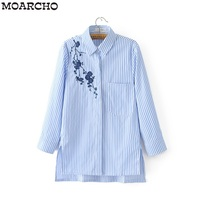 MOARCHO Women Blouse Shirt Embroidery Female Blouses Shirts Casual Striped V Neck Summer Vintage Tops Women
