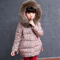Floral printed girls winter jacket large faux fur collar hooded cotton padded coat thicken warm children outerwear