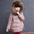 Impreso Floral niñas chaqueta de invierno de gran cuello de piel sintética con capucha de algodón acolchado escudo espesar caliente niños prendas de abrigo