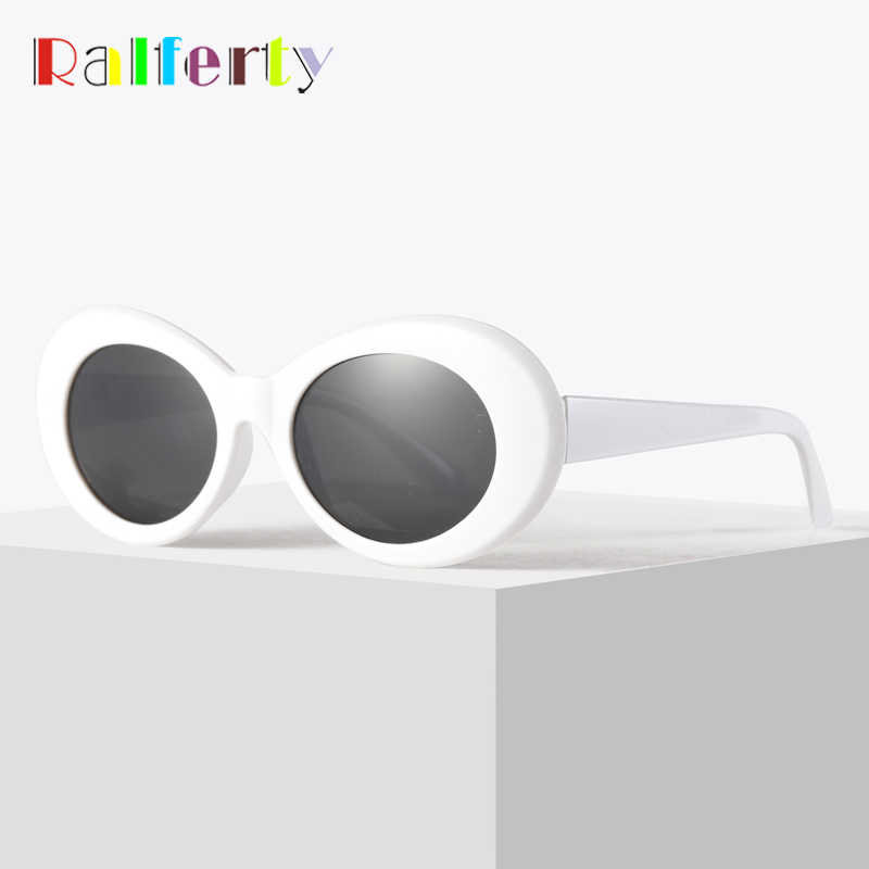 Ralferty Retro Oval Sunglasses Fashion Sunglasses Men Women Vintage White UV400 Sun Glasses Female Male Points Clout Goggles