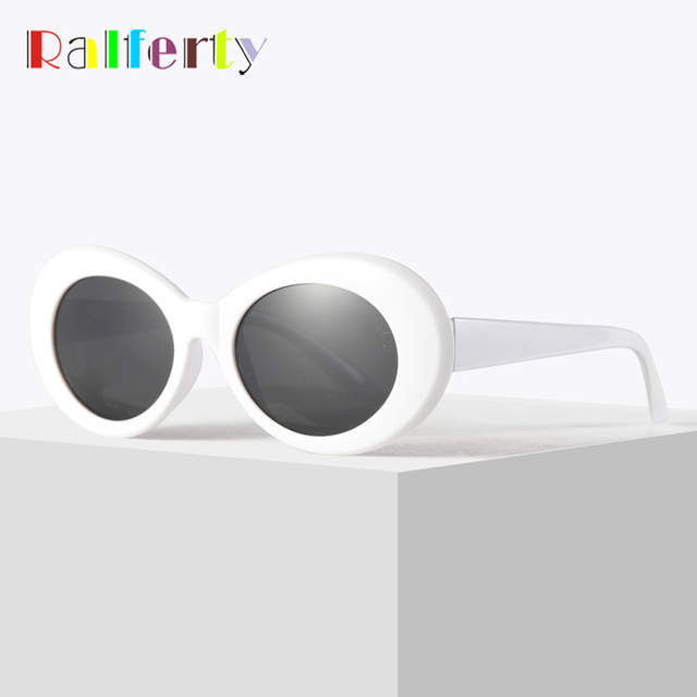 3c4d4c4948a44 Ralferty Retro Oval Sunglasses Fashion Sunglasses Men Women Vintage White UV400  Sun Glasses Female Male Points Clout Goggles