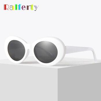 138f7cc741 Ralferty Retro Oval gafas de sol de moda hombres mujeres Vintage blanco  UV400 sol gafas mujer