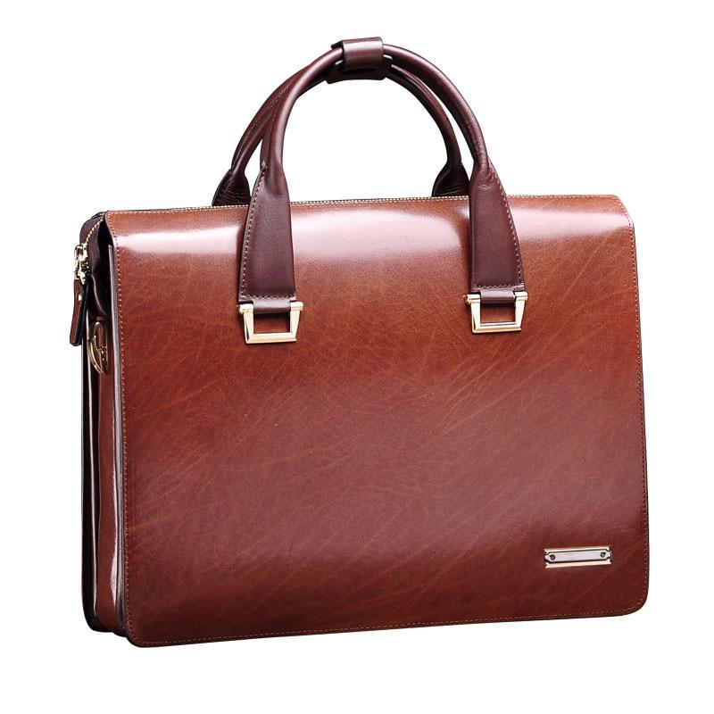 цена на teemzone Multi Pack (Handle + Shoulder) Perfect Gift Designer Men Briefcase Leather Maletines Portfolios Men Messenger Bags JJ15