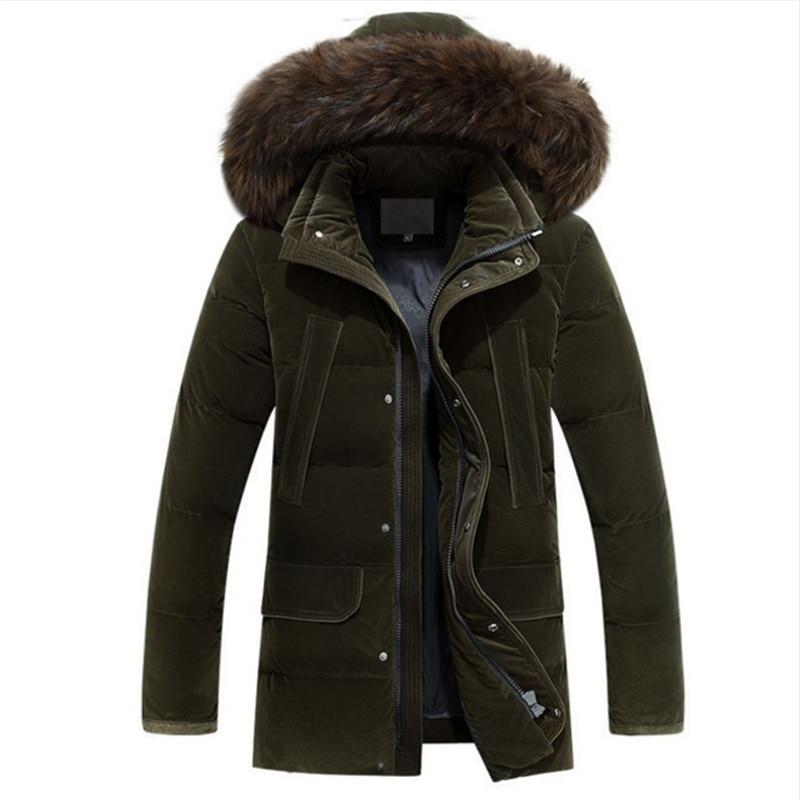 Men Medium Long Thicken Warm Fur Collar White Duck Down Coat Jacket Men -20 degree New Plus Size 4XL Russia Winter Down Jacket