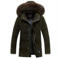 Men Medium Long Thicken Warm Fur Collar White Duck Down Coat Jacket Men 20 degree New Plus Size 4XL Russia Winter Down Jacket