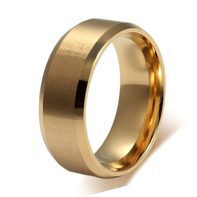 Us 8 09 32 Off 8mm Mens Gold Color Titanium Steel Wedding Band Brush Finish Plain Wedding Ring Classic Design Comfort Fit In Rings From Jewelry