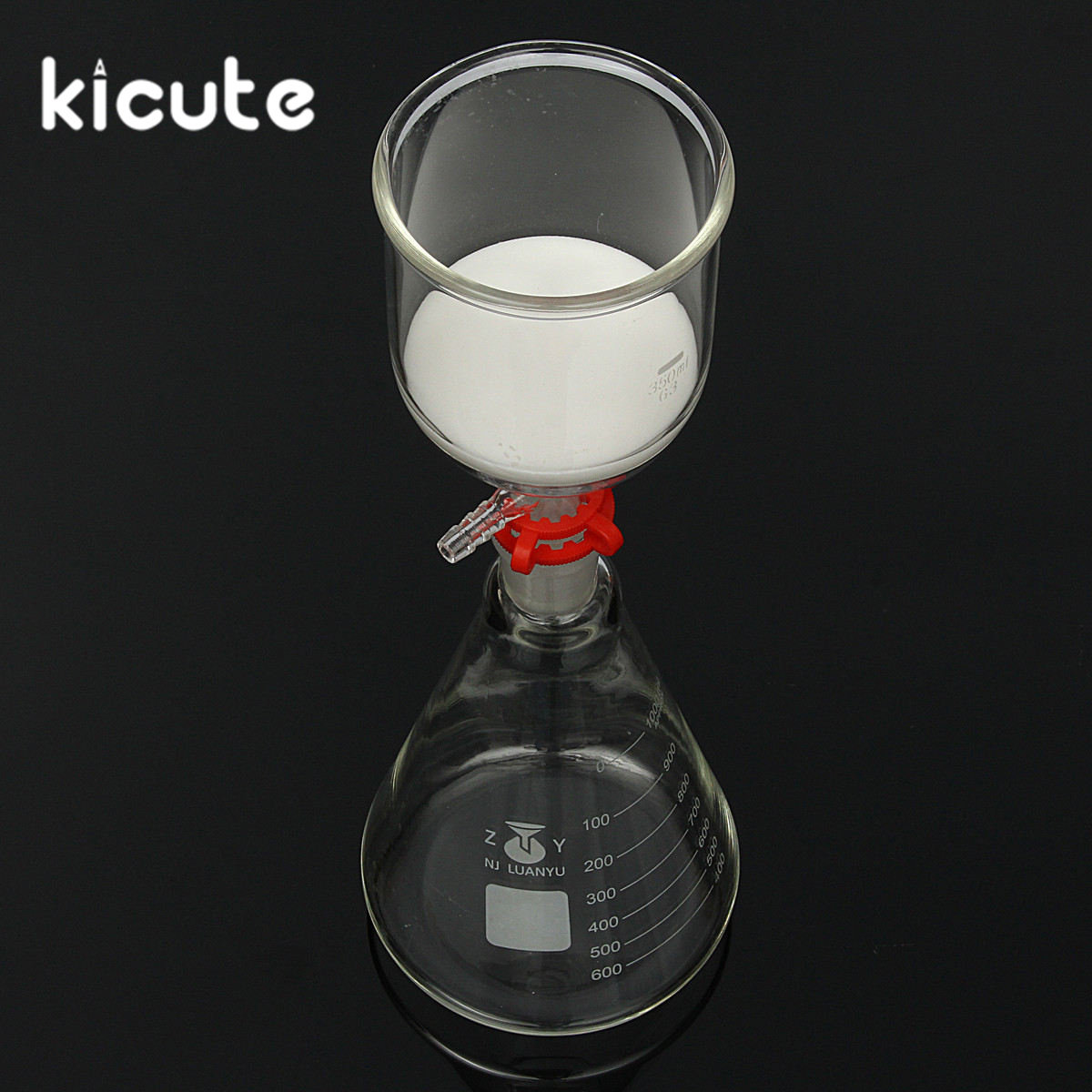 KiCute New 1000ml Glass Suction Filter Kit 350ml Buchner Funnel 1 Litre Erlenmeyer Flask Laboratory Bottle School Lab Supplies 2500ml glass buchne flask with one tube suction filter flask lab glassware lab supplies