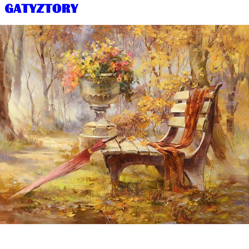 Frame Autumn Gardan Landscape DIY Digital Painting By Numbers Kits Hand Painted Modern Wall Art Canvas Painting For Artwork