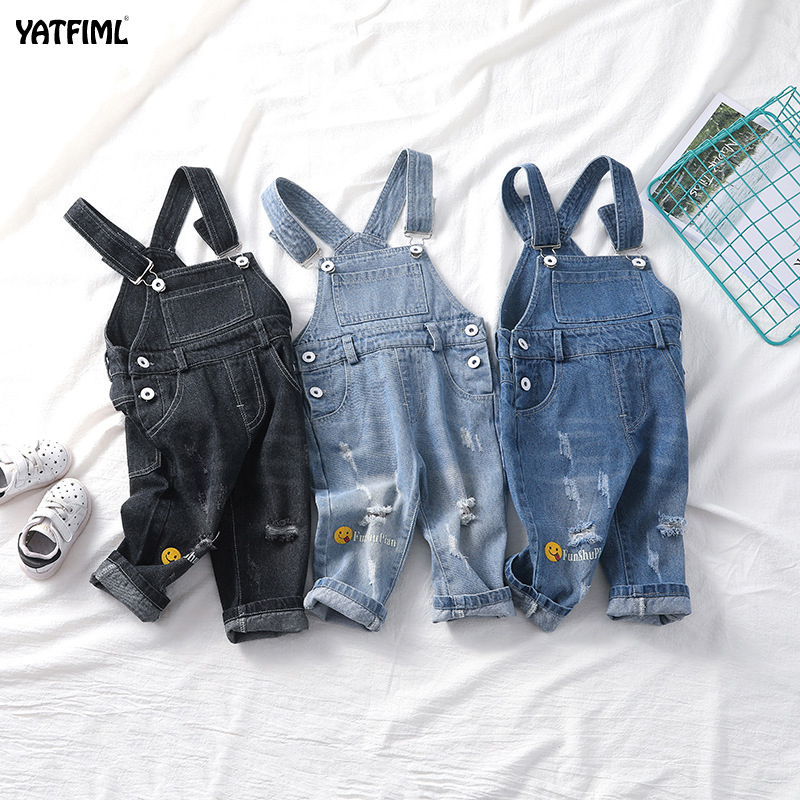 YATFIML Baby Boys Girls Jeans Overalls Toddler Kids Denim Rompers Cute Smile Cartoon Bebe Jumpsuit Long Children Pants Clothes