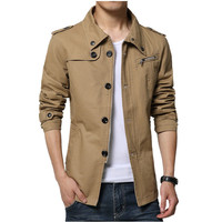 2017 Autumn Winter Men Slim Fit Jacket Single Breasted Trench Coat Male Casual Black Khaki Outerwear Windbreaker Chaqueta Hombre