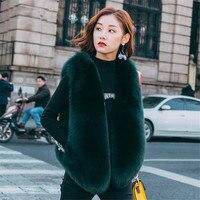 Темно зеленые зимние полным ходом пальто с мехом натуральный Лисий Меховой жилет Меховая жилетка Фокс женщины для девочек мода красочные н