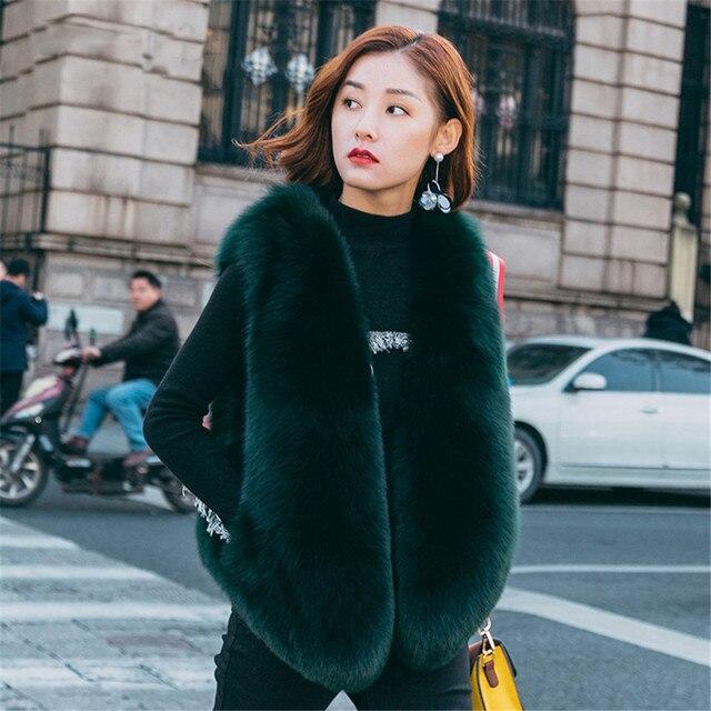 153c3a0b7e3 Dark Green winter Full pelt fur coat real natural fox fur vest fur gilet fox  women for girls fashion colorful genuine plus size