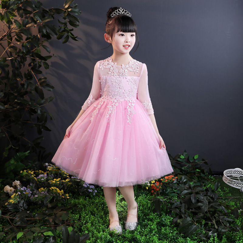 it's YiiYa   Flower     Girl     Dress   for Wedding Embroidery Short N Long Tulle Ball Gown Kid Party Communion   Dress   White Pink 2019 2803