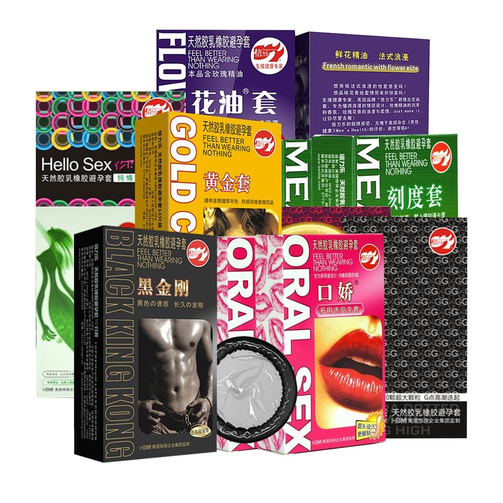 10pcs Beilile Ultra thin Lubricating Black Condoms G-Point Flower Fruit Oral Kondom Natural Latex Penis Sleeve Sex Tools For Men