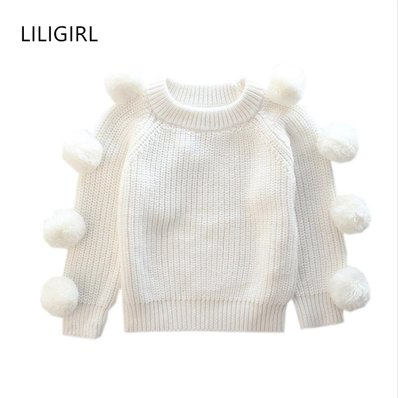 LILIGIRL Toddler Baby Knit Sweater Jackets for Girls Cotton Warm Tops Clothes 2018 Kids Autumn Cashmere Wool Ball Sweater Coat цена