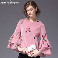Women Flare Sleeve Fashion Shirts Pink Striped Blouse Long Sleeve Women Shirt Lovely Princess Style Lady