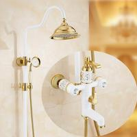 Free Shipping Polished Golden Grilled White Paint Shower Bathtub Faucet Wall Mount Bathroom Rainfall Shower Faucet