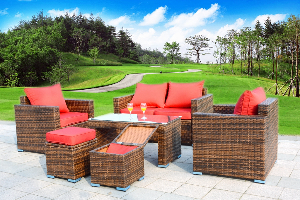 6 Pc. OUTDOOR PATIO FURNITURE SET PE Brown Wicker Rattan Sofa 2 Chairs Table New