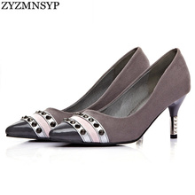 ZYZMNSYP women fashion nubuck rivets black blue gray high heels ladies pumps party shoes woman womens pointed toe female shoes