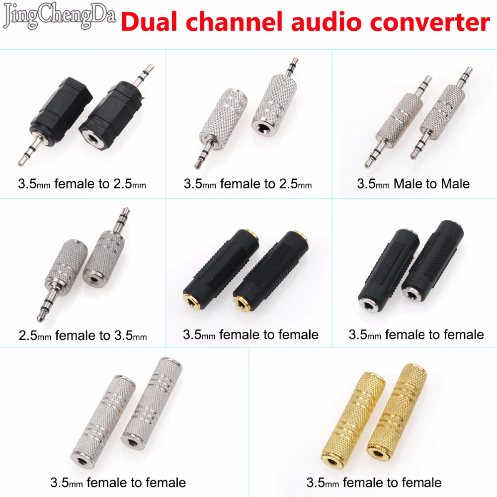 JCD 3.5 Mm Female To 3.5mm Female Jack Stereo Coupler Adapter 3.5 Mm Stereo Plug Male To 2.5 Mm Stereo Socket Female