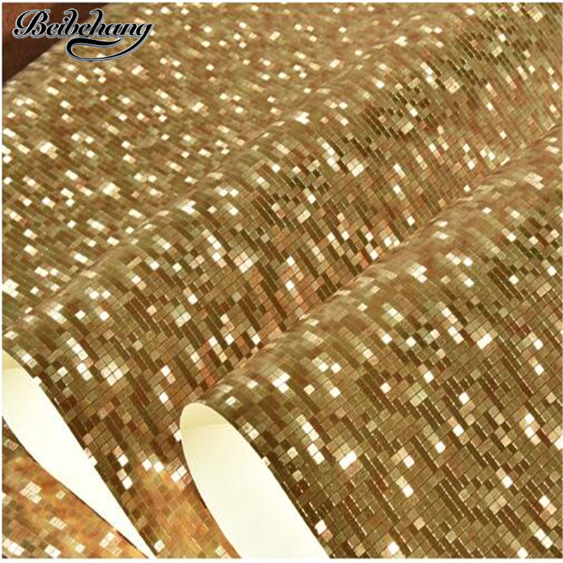 beibehang Gold and silver foil mosaic hotel clothing store KTV ceiling wallpaper living room background restaurant wall paper modern 3d stereoscopic simulation diamond wallpaper fashion designs ktv hotel ceiling grid background wall wallpaper black gold