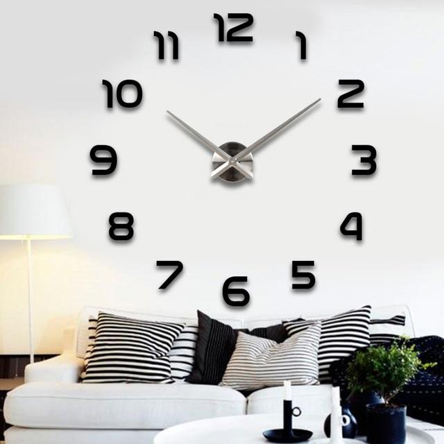 Silver pointer new sale wall clock clocks reloj de pared watch 3d diy Acrylic mirror Stickers Quartz Modern Home Decoration