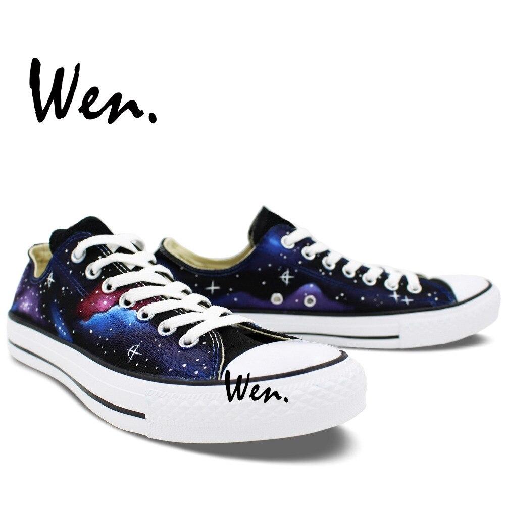 Wen Izvorni ručno oslikane cipele Dizajn Custom Stars Blue Galaxy - Tenisice - Foto 5