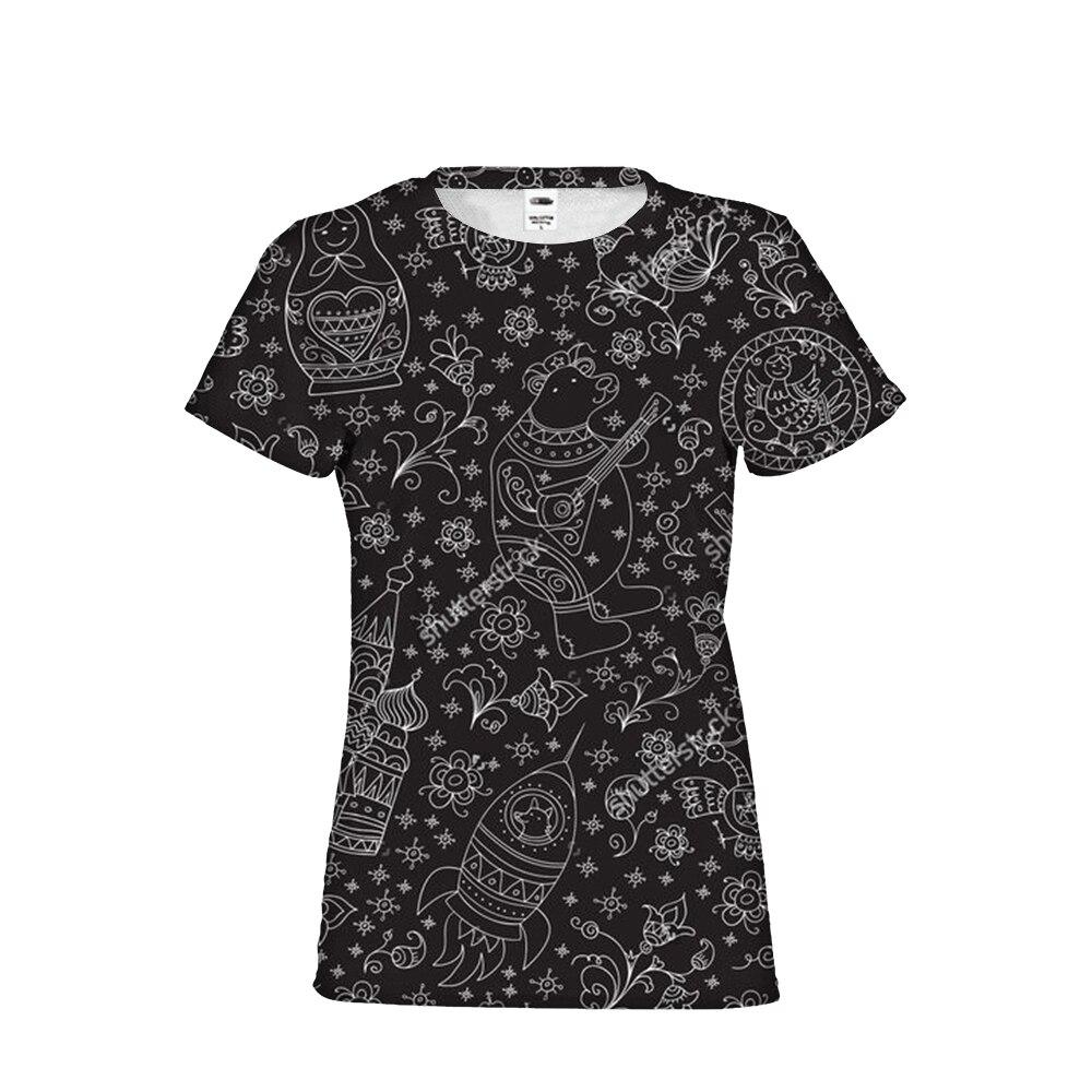 Gothique Matriochka poupée russe Cool Fille Femme Marque Vêtements T-Shirts top T-Shirts À Manches Courtes Femme Chemises Recadrée