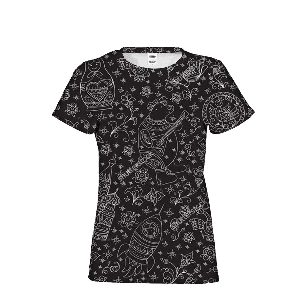 Gothique Matryoshka poupée russe Cool fille femme marque vêtements T-Shirts top t-Shirts à manches courtes femme chemises recadrées