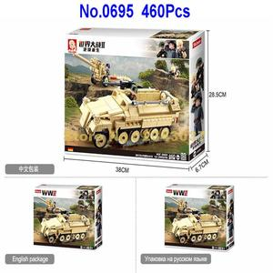 Image 5 - sluban 0695 460pcs military k18 105mm cannon artillery half track vehicle ww2 world war ii building blocks 3 figures Toy