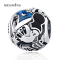 Authentic 925 Sterling Silver Bead Charms Blue Glaze Carton Mouse DIY Beads Fit Women Pandora Bracelets & Bangles Gift Jewelry