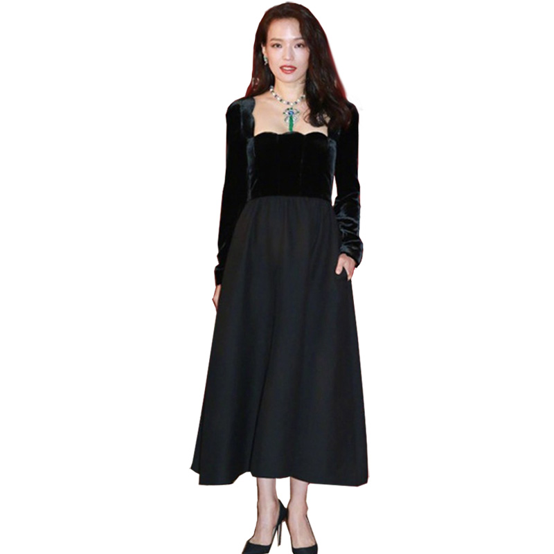 Fall Winter Maxi Dress New Fashion 2018 Women'ssquare Collar Patchwork  Long Sleeve Solid Color Elegant Party Long Dress