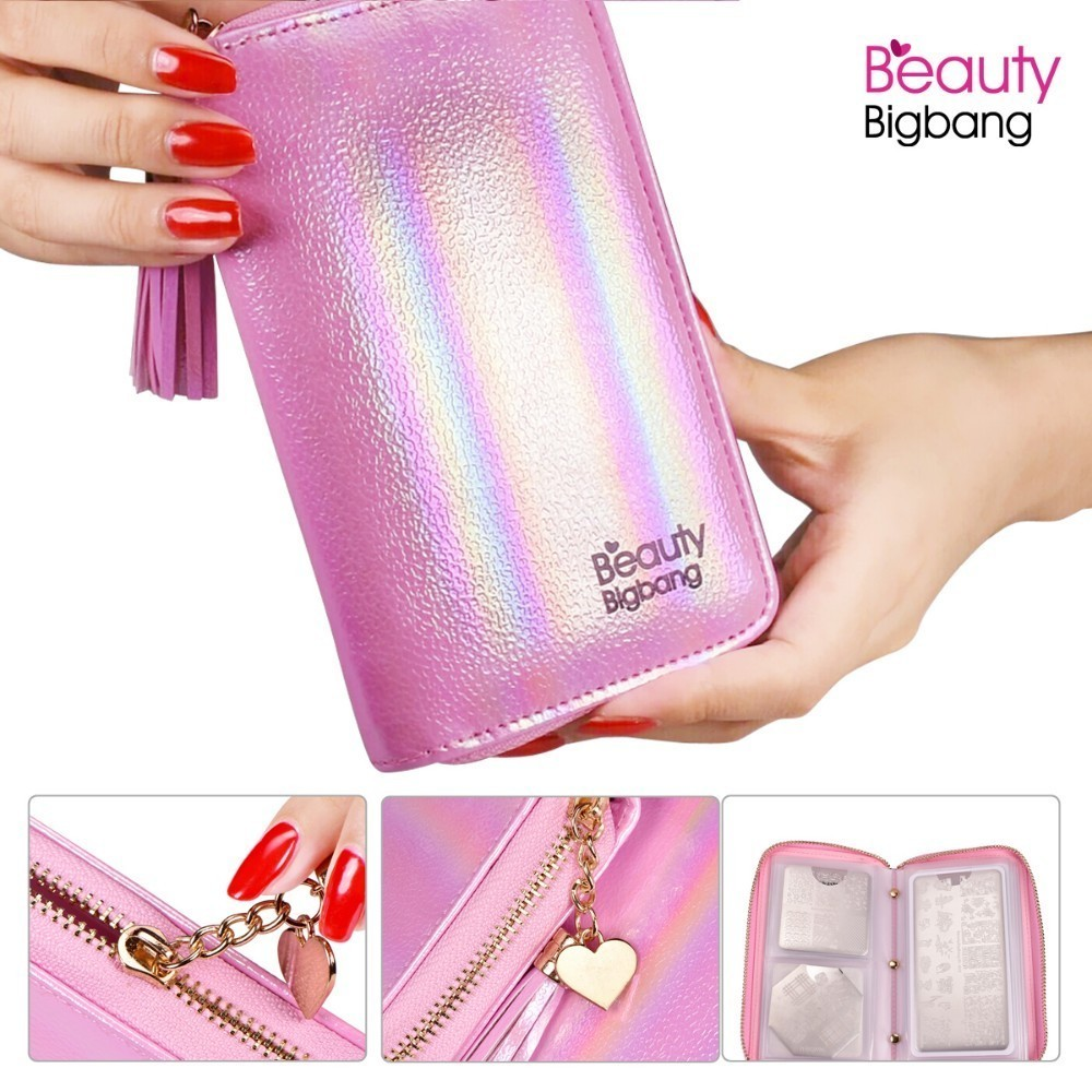 Nail Art Templates Ur Sugar 24 Slots Shinny Color Stamping Plate Holder Case Bag Round Square Rectangle Plate Organizer
