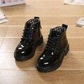 2016 Novas Crianças Inverno Sapatos de Couro PU À Prova D' Água Martin Botas Crianças Botas de Neve Meninos Meninas Botas De Borracha Da Marca de Moda Tênis