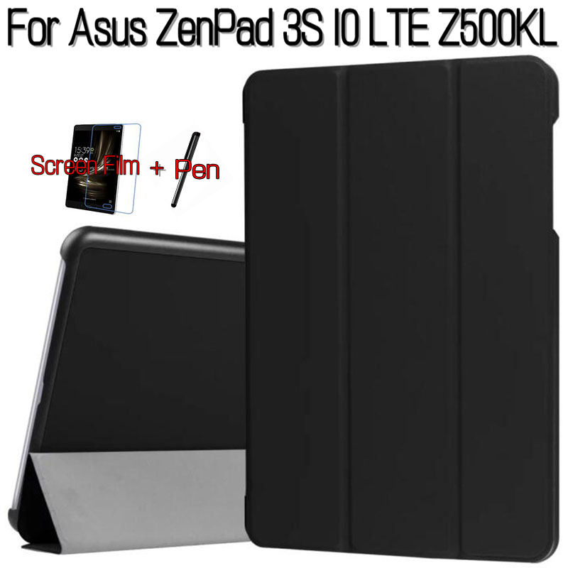 цена на Magnetic Stand Smart PU Leather Cover for Asus ZenPad 3S 10 LTE Z500KL 9.7 Tablet Funda Case+Free Screen Protector+Stylus Pen