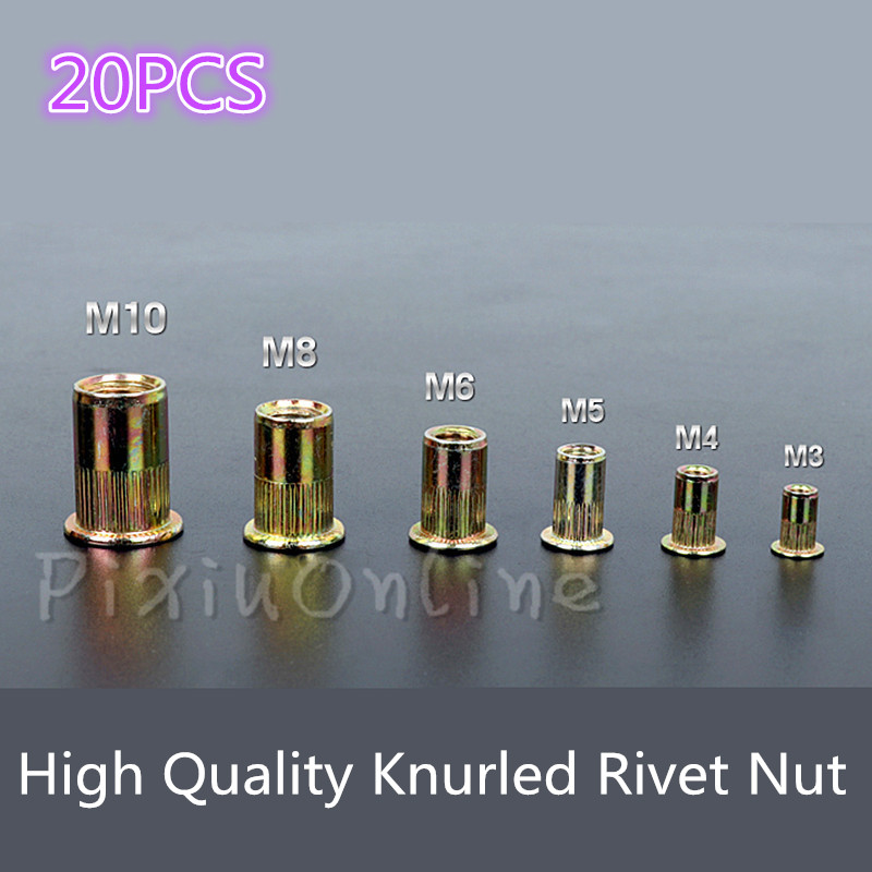 цена на 20PCS ST146 M3/M4/M5/M6/M8/M10 Rivet Nut Zinc Plated Metric Knurled Nuts Rivnut Free Shipping
