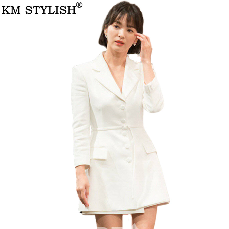 2019 Song Hye Kyo The Same Paragraph Long-sleeved Belted Jacket Suit + Shorts OL Commute Temperament White Ladies Two-piece Suit