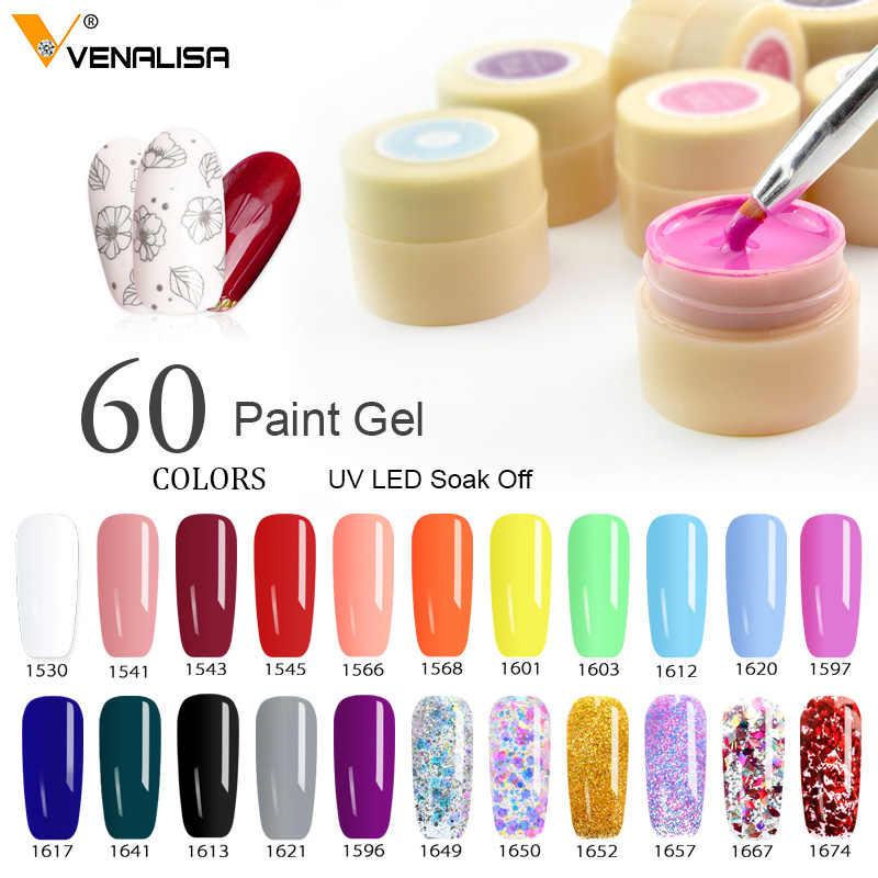 VENALISA כוכבים ציור ג 'ל 180 צבעים 5ml CANNI טהור צבע לכה נייל ארט סלון משרים כבוי UV LED נייל אמנות עיצוב ציור ג 'ל