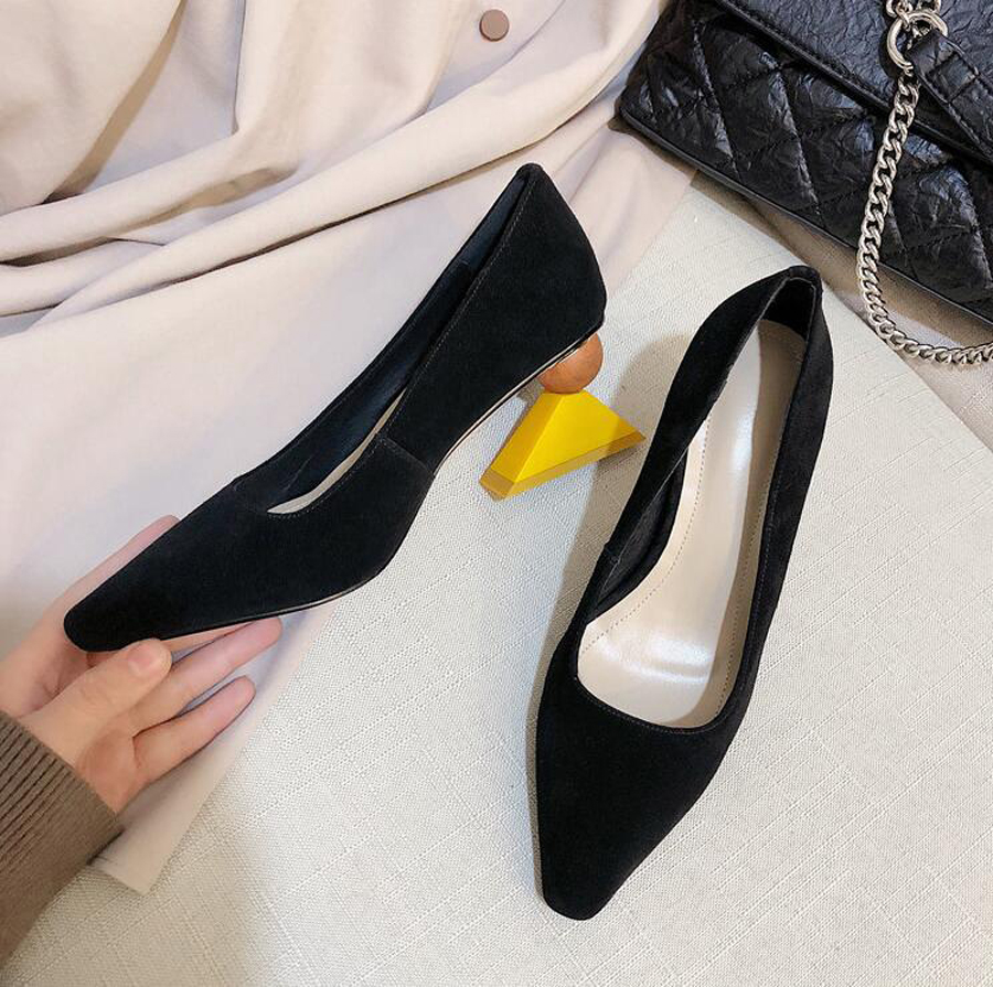 MStacchi 2019 Sexy Asymmetry Geometry Heel Lady Pump Pointed Toe Shallow Strange High Heels Mary Jane Shoes Women Suede Leather