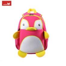 Nohoo 3d impermeable pingüino animales mochila de escuela para niñas niños niños niños bolso de escuela de la historieta