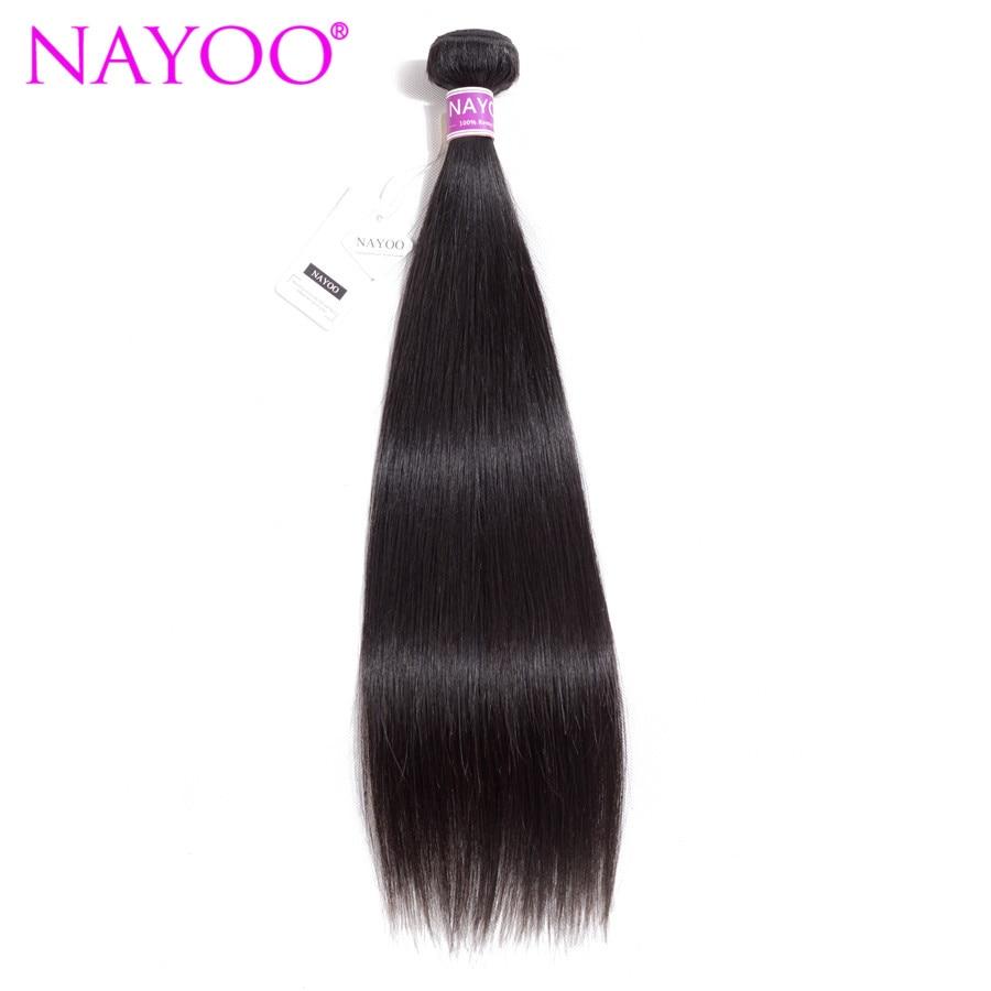 NAYOO brasilianske Remy Hair 8-26 tommer 100% brasilianske Human Hair - Menneskehår (sort)
