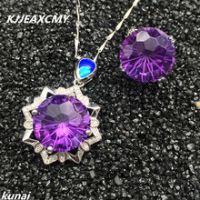 KJJEAXCMY Fine jewelry, Color treasure 925 silver inlaid fireworks, Amethyst two sets, simple and generous wholesale