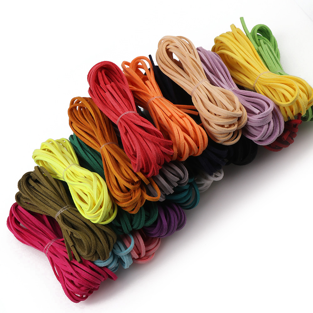 5 Meters 3mm Korea Artifical Suede Flat Leather Cord Lace String Strap Necklace Rope Bead Bracelet Finding 20 Colors