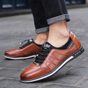 Image 5 - 2020 yeni erkek yüksek kaliteli nefes alan günlük ayakkabılar erkek rahat kaymaz deri ayakkabı adam hafif düz yürüyüş spor ayakkabı
