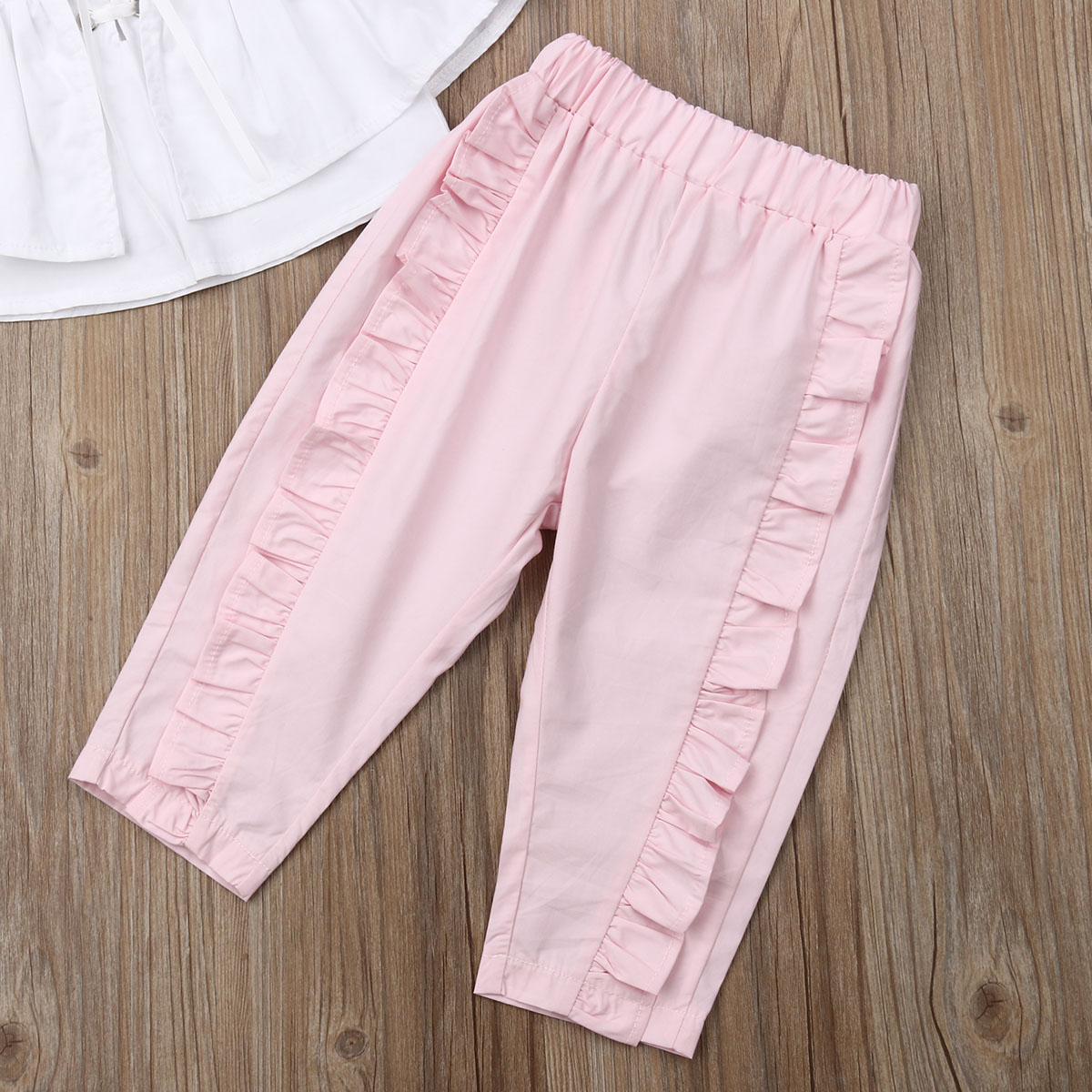 1 6T Cute Toddler Baby Girl 2Pcs Ruffle Solid Strappy Off Shoulder Crop Tops Pleated Losse Long Pants Casual Summer Clothes Set in Clothing Sets from Mother Kids
